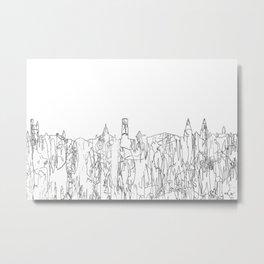 Aberdeen, Scotland Skyline B&W - Thin Line Metal Print