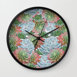 Succulents Pattern #2 #GreenVibes #decor #art #society6 Wall Clock