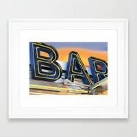 bar Framed Art Prints featuring Bar. by Alexandra Johnson