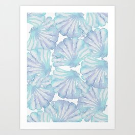 Shell Ya Later - Turquoise Seashell Pattern Art Print
