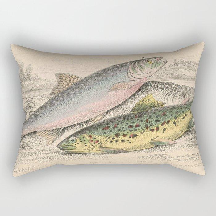 Vintage River Trout Illustration (1866) Rectangular Pillow