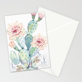 Succulent Cactus Flowers Stationery Cards