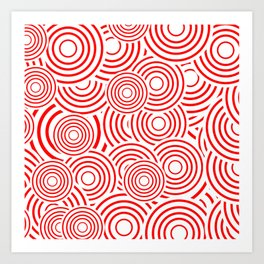 circles in red and white Art Print