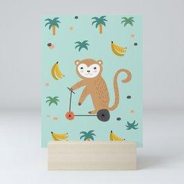 Mr. Monkey - Sea Green Mini Art Print