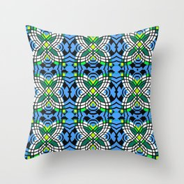 Blue Vintage Tile Boho Butterfly Print Throw Pillow