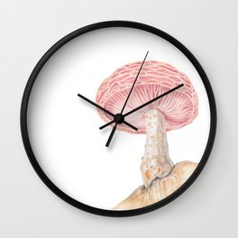 Mushroom - Wrinkled Peach Mushroom Watercolour Print - RHODOTUS PALMATUS By Magda Opoka Wall Clock