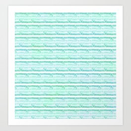 chevron blue&green Art Print