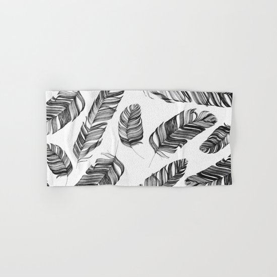 Black and white feathers Hand & Bath Towel