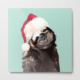 Christmas Sloth in Green Metal Print