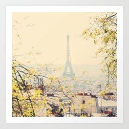 the Eiffel tower from atop Montmartre, Paris ... Art Print