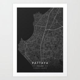 Pattaya, Thailand - Dark Map Art Print