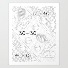 Illustration of Tennis Sport Scene Art Print