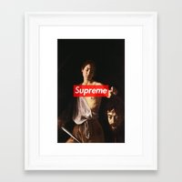 supreme Framed Art Prints featuring Supreme by Mikayla Lapierre