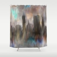 skyline Shower Curtains featuring Skyline by Rafael&Arty