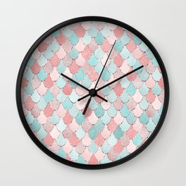 Mermaid Art, Cute, Coral and Teal, Fun Bathroom Art Wall Clock