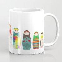 russian Mugs featuring Russian Dolls by malobi