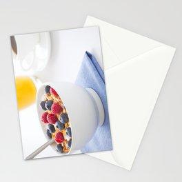 Healthy breakfast with muesli, fresh fruit, orange juice and coffee Stationery Cards