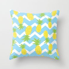 Blue Pineapple Pattern Throw Pillow