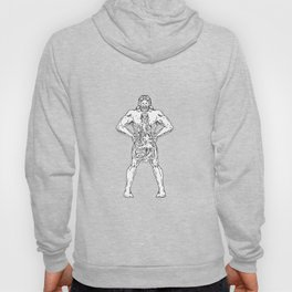 Hercules Hold Bottle Octopus Inside Drawing Black and White Hoody