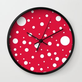 Mixed Polka Dots - White on Crimson Red Wall Clock
