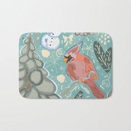 Seamless Winter Pattern with cute Cardinal Bird, Snowman and Spruce Tree Bath Mat