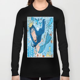Quirky Mermaid with Sea Friends, Blue version Long Sleeve T-shirt