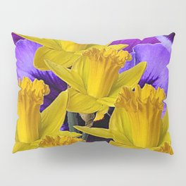 YELLOW DAFFODILS AGAINST PURPLE PANSIES Pillow Sham