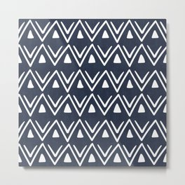 Etched Zig Zag Pattern in Navy Blue Metal Print