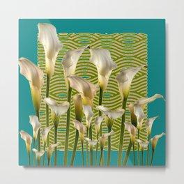 Teal Color Ivory Calla Lilies Garden Art Metal Print