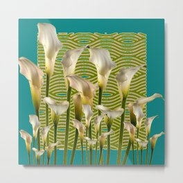 Teal Color Ivory Calla Lilies Garden Art Metal Print
