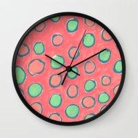 polka dot Wall Clocks featuring polka dot by Jenni Freidman