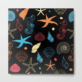 Seahorse Sea Shell Party Metal Print