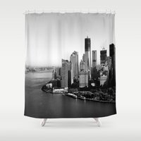 manhattan Shower Curtains featuring Manhattan  by Zakvdboom Designs