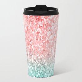 Summer Vibes Glitter #3 #coral #mint #shiny #decor #art #society6 Travel Mug