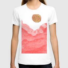 Red watercolor abstract mountains and moon T-shirt