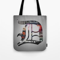 detroit Tote Bags featuring Detroit by Speed-Photos