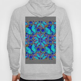 Abstract Decorative Aqua Blue Butterflies On Charcoal Grey Art Hoody