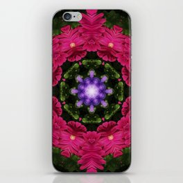 Hot Pink Gerbera And Cool Blue Viola Kaleidoscope iPhone Skin