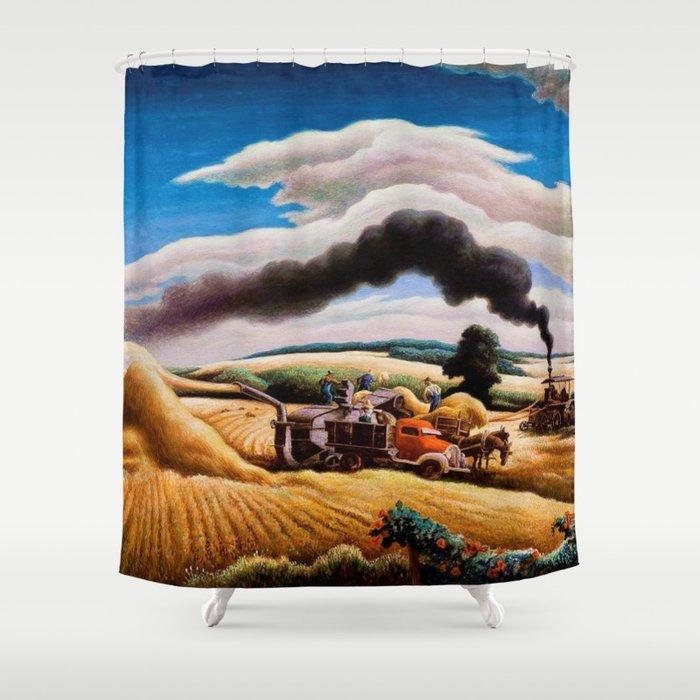 American Classical Masterpiece Threshing Wheat by Thomas Hart Benton Shower Curtain