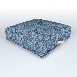 Blue Succulent Pattern Outdoor Floor Cushion