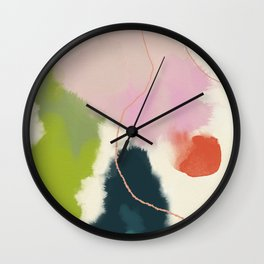 sky abstract with pink & green clouds Wall Clock