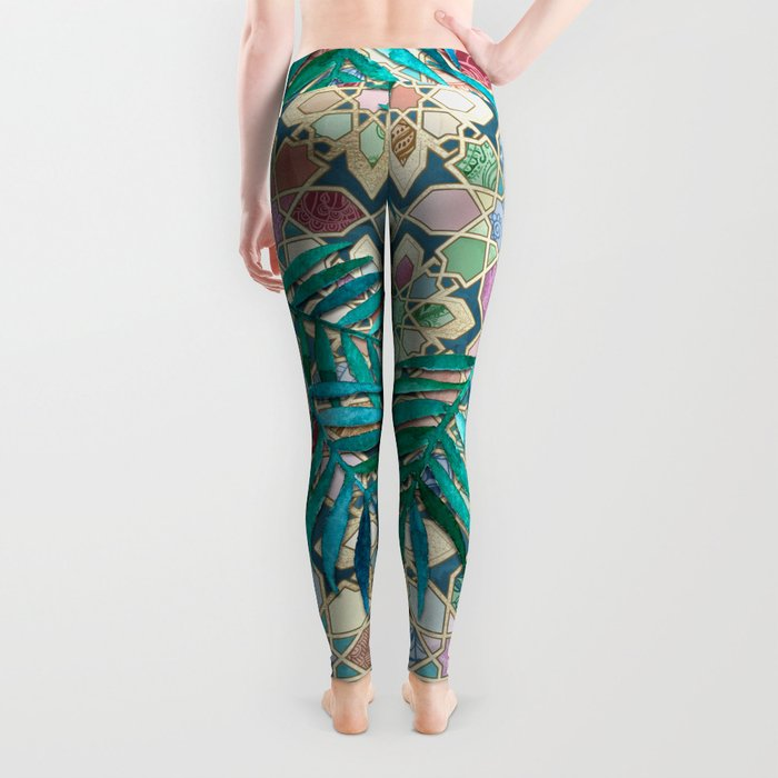Muted Moroccan Mosaic Tiles with Palm Leaves Leggings