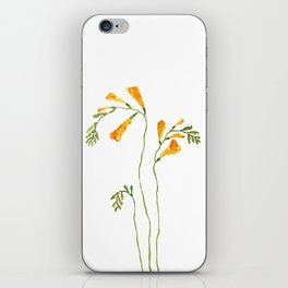 orange freesia watercolor iPhone Skin