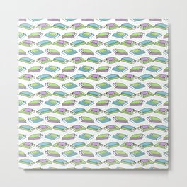 Doodle Books - Pattern in Green, Purple and Blue on White Background Metal Print