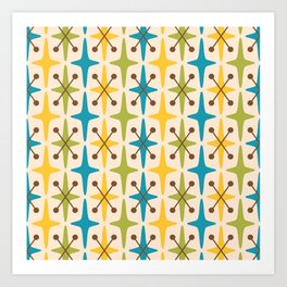 Mid Century Modern Abstract Star Pattern 441 Yellow Brown Turquoise Chartreuse Art Print