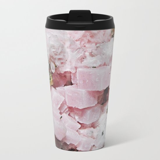 ROSE QUARTZ AND GOLD / GEOMETRIC ABSTRACT PATTERN AND TEXTURE Metal Travel Mug