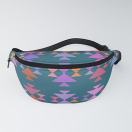 Colorful Painted Triangle Pattern in Blue Fanny Pack