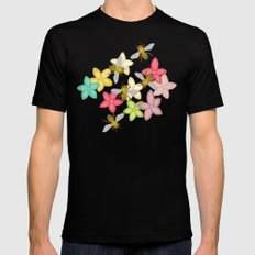 Indian Summer flowers and bees Black Mens Fitted Tee MEDIUM
