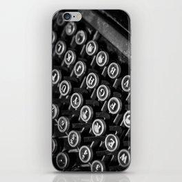 black and white typewriter iPhone Skin