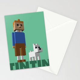 Tintin voxel tribute Stationery Cards